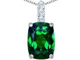 Star K™ Large 14x10mm Cushion Cut Simulated Emerald Pendant Necklace style: 307492
