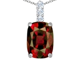 Star K™ Large 14x10mm Cushion Cut Simulated Garnet Pendant Necklace style: 307494