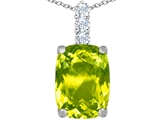 Star K™ Large 14x10mm Cushion Cut Simulated Peridot and Cubic Zirconia Pendant Necklace style: 307495