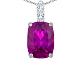 Star K™ Large 14x10mm Cushion Cut Created Pink Sapphire Pendant Necklace style: 307497