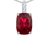 Star K™ Large 14x10mm Cushion Cut Created Ruby Pendant Necklace style: 307498