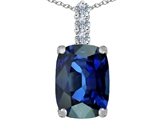 Star K™ Large 14x10mm Cushion Cut Created Sapphire Pendant Necklace style: 307500