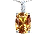 Star K™ Large 14x10mm Cushion Cut Simulated Imperial Yellow Topaz Pendant Necklace style: 307501