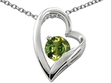 Star K™ 7mm Round Simulated Green Tourmaline Heart Pendant Necklace style: 307526
