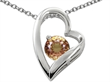 Star K™ 7mm Round Simulated Imperial Yellow Topaz Heart Pendant Necklace style: 307527