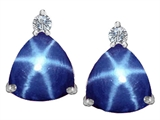 Original Star K™ 7mm Trillion Cut Created Star Sapphire Earrings Studs style: 307533