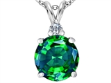 Star K™ Large 12mm Round Simulated Emerald Pendant Necklace style: 307536