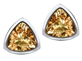 Star K™ 7mm Trillion Cut Simulated Imperial Yellow Topaz Earrings Studs style: 307542
