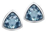 Star K™ 7mm Trillion Cut Simulated Aquamarine Earrings Studs style: 307545