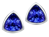 Star K™ 7mm Trillion Cut Simulated Tanzanite Earrings Studs style: 307550
