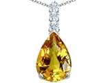 Star K™ Large 14x10mm Pear Shape Simulated Citrine Pendant Necklace style: 307551