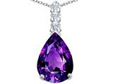Star K™ Large 14x10mm Pear Shape Simulated Amethyst Pendant Necklace style: 307552