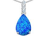 Star K™ Large 14x10mm Pear Shape Blue Created Opal Pendant Necklace style: 307553