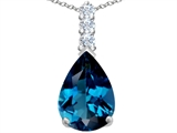 Star K™ Large 14x10mm Pear Shape Simulated Blue Topaz Pendant Necklace style: 307558