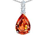Star K™ Large 14x10mm Pear Shape Simulated Orange Mexican Fire Opal Pendant Necklace style: 307560