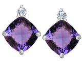 Star K™ 7mm Cushion Cut Simulated Alexandrite Earrings Studs style: 307579
