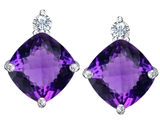 Star K™ 7mm Cushion Cut Simulated Amethyst Earrings Studs style: 307580