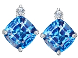 Star K™ 7mm Cushion Cut Simulated Blue Topaz Earrings Studs style: 307581