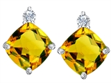 Star K™ 7mm Cushion Cut Simulated Citrine Earrings Studs style: 307582