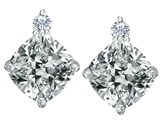 Original Star K™ 7mm Cushion Cut Genuine White Topaz Earrings Studs style: 307584