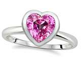 Tommaso Design™ 7mm Heart Shape Created Pink Sapphire Engagement Solitaire Ring style: 307637
