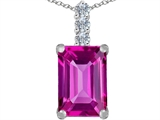 Star K™ Large 14x10mm Emerald Cut Created Pink Sapphire Pendant Necklace style: 307640