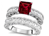Star K™ 7mm Square Cut Created Ruby Wedding Set style: 307643