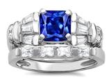 Star K™ 6mm Square Cut Created Sapphire Wedding Set style: 307647