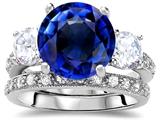 Star K™ Large 10mm Round Created Sapphire Wedding Set style: 307651
