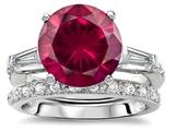 Original Star K™ Large 10mm Round Created Ruby Wedding Set style: 307655