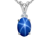 Tommaso Design™ Oval 9x7mm Created Star Sapphire and Diamond Pendant Necklace style: 307659