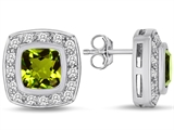Star K™ 7mm Cushion Cut Simulated Peridot and Cubic Zirconia Halo Earrings Studs style: 307671