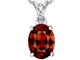 Star K™ Large 14x10mm Oval Simulated Garnet Pendant Necklace style: 307678