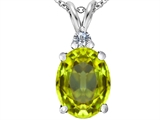 Star K™ Large 14x10mm Oval Simulated Peridot and Cubic Zirconia Pendant Necklace style: 307679