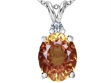 Star K™ Large 14x10mm Oval Simulated Imperial Yellow Topaz Pendant Necklace style: 307681