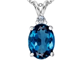 Star K™ Large 14x10mm Oval Simulated Blue Topaz Pendant Necklace style: 307685