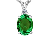 Star K™ Large 14x10mm Oval Simulated Emerald Pendant Necklace style: 307686