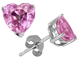Star K™ 7mm Heart Shape Created Baby Pink Sapphire Earrings Studs style: 307690