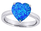 Star K™ Large 10mm Heart Shape Solitaire Ring with Simulated Blue Opal style: 307705