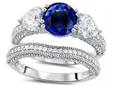 Original Star K™ Round 7mm Created Sapphire Wedding Set style: 307715