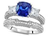 Original Star K™ Cushion Cut 7mm Created Sapphire Wedding Set style: 307717