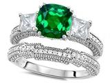 Original Star K™ Cushion Cut 7mm Simulated Emerald Wedding Set style: 307718