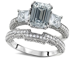 Original Star K™ Emerald Cut 8x6mm Genuine White Topaz Engagement Wedding Set style: 307723