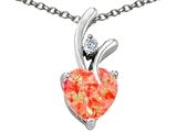 Star K™ 8mm Heart Shape Simulated Red Fire Opal Heart Pendant Necklace style: 307724