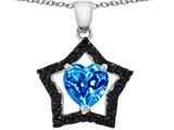 Star K™ 8mm Heart Shape Simulated Blue Topaz Black Star Pendant Necklace style: 307725