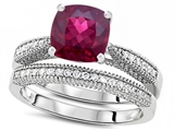 Star K™ Cushion Cut 7mm Created Ruby Wedding Set style: 307726