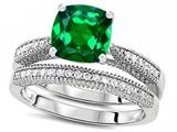 Original Star K™ Cushion Cut 7mm Simulated Emerald Wedding Set style: 307728