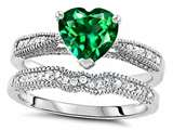 Star K™ Heart Shape 7mm Simulated Emerald Wedding Set style: 307730
