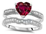 Star K™ Heart Shape 7mm Created Ruby Wedding Set style: 307732