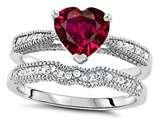 Star K™ Heart Shape 7mm Created Ruby Wedding Set style: 307732